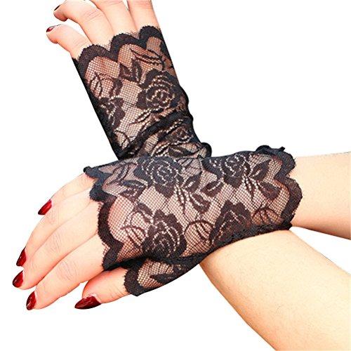 e Fingerlose Handschuhe Half Finger Braut Handschuhe UV Schutz Fingerlose Handschuhe Sunproof Handschuhe (Schwarz) (Schwarze Spitzen Handschuhe)