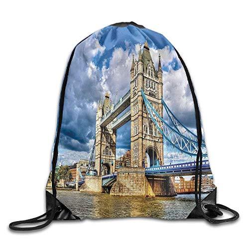 Setyserytu Sporttasche mit Kordelzug, Sportrucksack, Reiserucksack, London Historical Tower Bridge On River London UK British Day Time International Heritage Bags Running Backpack -