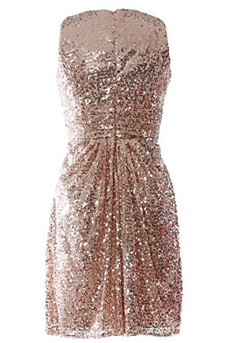 MACloth Women Ruched Sequin Short Bridesmaid Dress Cocktail Evening Party Gown gold