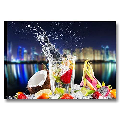 Quadri L&C ITALIA Fresh Cocktail Night 1 | Quadro Moderno Stampa Tela 70 x 50 cm | Produzione Artigianale | Pannello Orizzontale Cucina Bar Ristorante Drink Blu Rosso Fragole Decorazioni da Appendere