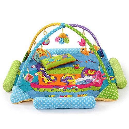 CSJY Parque de animales Juego de bebé Alfombra de juego Estera de bebé Reptil Oruga Oruga Soporte de bebé Juguete Azul 130x130x60cm