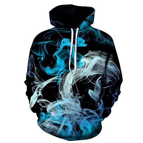 YX Unisex 3D Neuheit Hoodies Herren Damenmode Cool Blau Weiß Rauch In Der Dunkelheit Grafikmuster Print Hoodies Pullover Sweatshirt Pockets Sweaters (Color : Multi-Colored, Size : L)