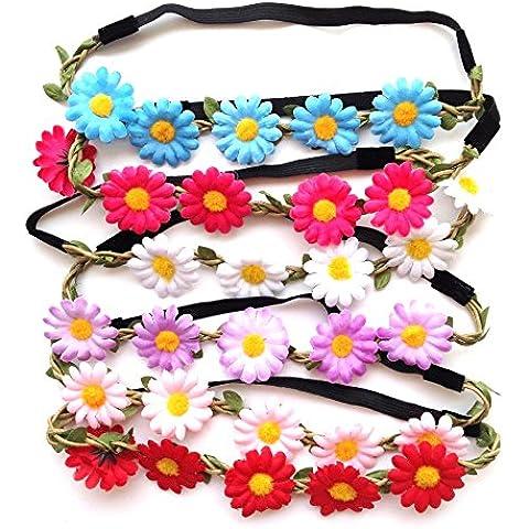 Corona Flores felpa Flores para cabellos ,6 unidades y difrente colores