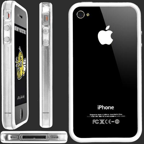 Horny Protectors Bumper für Apple iPhone 4 rosa/weiß mit Metallbutton transparent/weiß