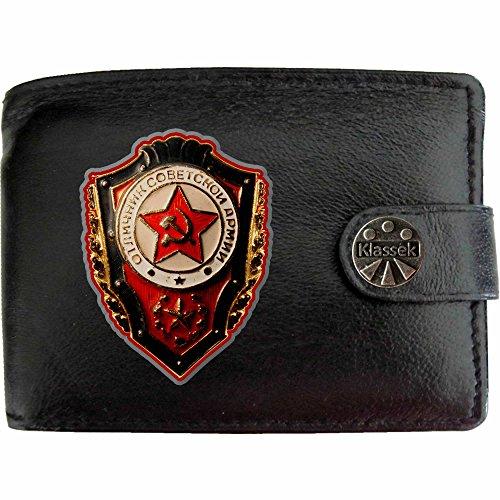 Soviet Badge USSR Sowjetische Abzeichen Klassek Herren Geldbörse Portemonnaie Brieftasche UdSSR Russland aus echtem Leder schwarz Geschenk Präsent mit Metall Box