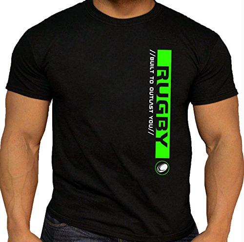 """Qualität Herren Rugby Pro """"Built to Outlast You"""" T-Shirt aus Baumwolle, schwarz (möglicherweise nicht in deutscher Sprache verfügbar) 100%Baumwolle XXL Black-Neon Green (Team T-shirt Rugby England)"""