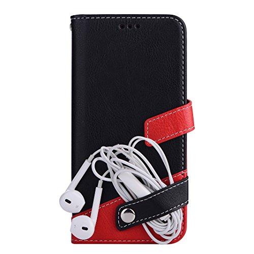 Étui Pour iPhone 6 / 6S, Asnlove Bicolore Flip Coque PU Cuir et TPU Silicone Cover Antichoc Housse Portefeuille Cas Case Bumper Pour iPhone 6/6S - Rouge Noir