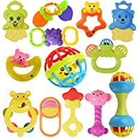 WISHKEY Colorful Non Toxic BPA Free 10 Rattles and 3 Teethers Toys Set for Babies ,Infants