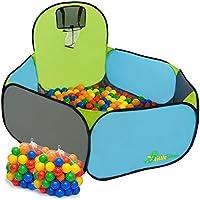 Piscina di palline colorate con canestro Pumba | tenda gioco per bambini incl 200 palline di plastica colorata + pratica custodia per riporla / trasportarla | faciele da montare leggera da trasportare | per giocare dentro e fuori casa