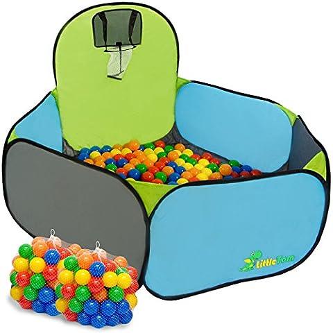 Piscine Tente Pumba de eyepower + 200 balles colorées + panier de basket-ball + étui pour le garder / transporter | jeu jouet pour enfants maisonnette de jardin mini terrain de basket + boules multicolores | idéal pour l'intérieur et l'extérieur da la maison