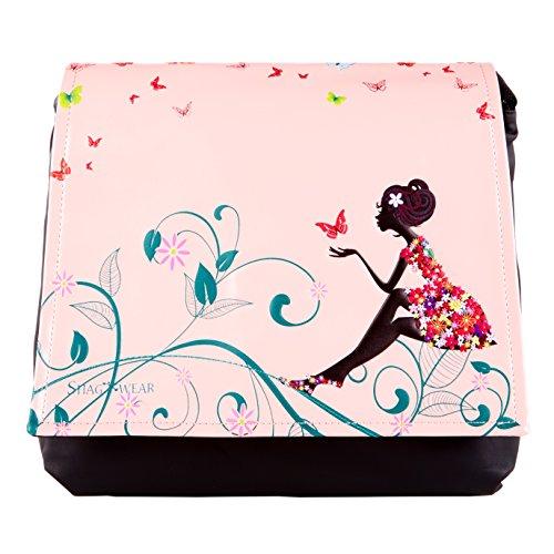 Shagwear Junge-Damen Umhängetasche, Schultertasche, Cross Body Bag:Verschiedene Farben und Designs: (Schmetterling Oase Pink/ Butterfly Oasis Pink)
