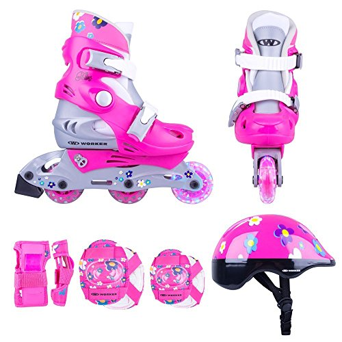Kinder Inline Skates Set Polly LED Leuchtrolle Gr. 26-29, 30-33 verstellbar + Schutzset + Helm (26-29 verstellbar)