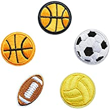 Baloncesto Fútbol voleibol DIY hierro bordado en parches insignia bolsa gorro pantalones Applique DIY Craft Basketball