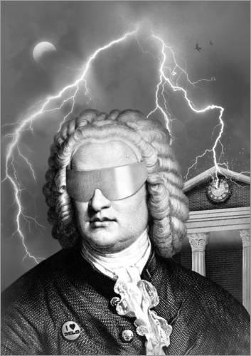 Poster 90 x 120 cm: Bach to The Future von Florent Bodart - hochwertiger Kunstdruck, neues Kunstposter