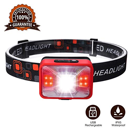 SOLMORE Lampe Frontale LED Rechargeable 5 Modes Étanche Lumineuse Légère Confortable pour Activités de Plein Air Camping Pêche Chasse Marche Randonnée