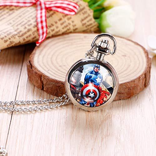 Baoleiju Halskette Medaillon Taschenuhr Captain America mit Schmuckkästchen, Captain America Kette für Mädchen, Mädchen Style B (Captain America Medaillon Halskette)
