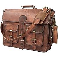 18' Sac en cuir de cartable de messager de sac à main d'ordinateur portable, sac en cuir rustique en cuir vintage fait main
