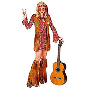 WIDMANN 02864 Disfraz hippie, mujer, multicolor, XL