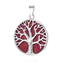 AeraVida Mystical Tree of Life Reconstructed Red Coral Inlay .925 Sterling Silver Pendant