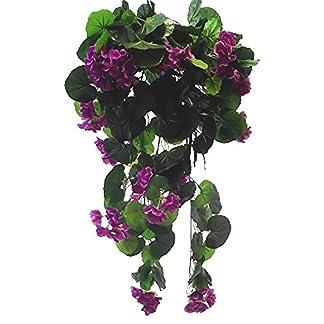 Trendy Bendy Guirnaldas de seda artificial, geranio púrpura, 70 cm, cesta para colgar en la ventana, flores