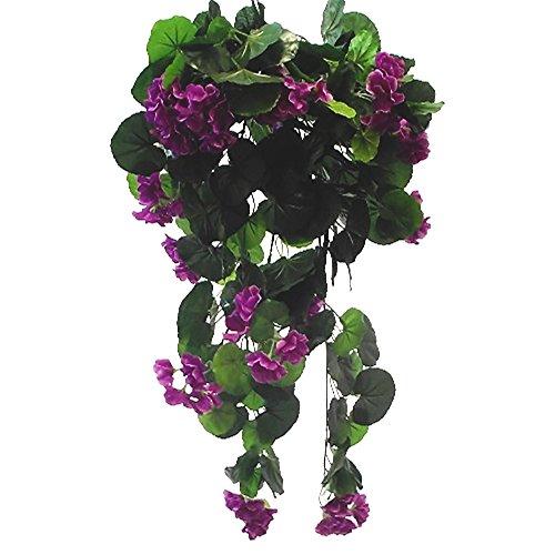 Trendige biegsam Girlanden Seidengeranien, künstliche violett 70cm Blumenampel Fenster Box Blumen