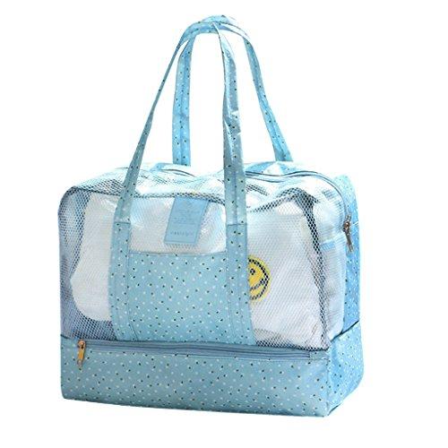 Mesh Wasserdichte Strandtasche, Strand Einkaufstasche Sand weg Tragen Schulter Beutel Feiertags Spielzeug Handtücher, Kleidung Schuh Aufbewahrungs Beutel Kinder Spielwaren Organisator Blau
