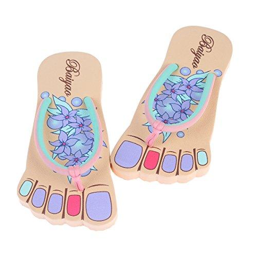 Damara Damen Fuß-Form Geblümt Fußbett Bequem Badeschuhe Violett