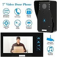 """KKmoon 7"""" Interfono Timbre Intercomunicador (1000TVL Cámara de Vigilancia, Monitor TFT LCD, Botón Táctil, Remoto Desbloqueo, Visión Nocturna)"""