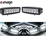 #8: Casago 6 Inch 6 LED Fog Light IP67 Waterproof CREE LED Spot Flood Beam Work Lamp Bar with Installation Accessories for Motorcycle Jeep Off Road Car Bike Truck ATV SUV (18W, Pack of 2)