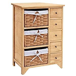 Cherry Tree Furniture Paulownia Original Wood Colour 5-Layer Cabinet Drawer Chest with Wicker Baskets
