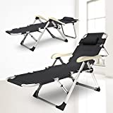 EQUAL Portable and Convertible Folding Lounge Recliner Chair Cum Bed (Black, 185x67x42cm, EFBC - 04)