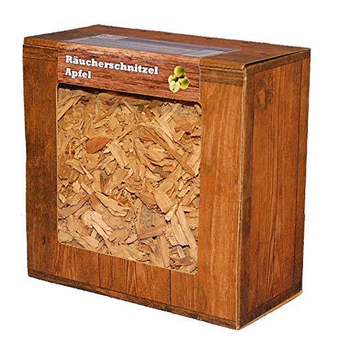 Apfel Räucherschnitzel für perfektes Raucharoma, Aromatische Wood Cuttings, 100% Natürlich, 3 Liter-Box für Kugel-, Gas-Grill und Smoker