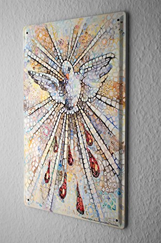 Nostalgic Tin Sign Wall Decor Plate Mosaic Peace Dove Metal Wall Plate 8X12""