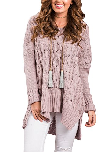 Cfanny Pull-Over Blouse Maille Chaud Femme Tricoté Coton Loose Oversize Col V,Rose,XX-Large