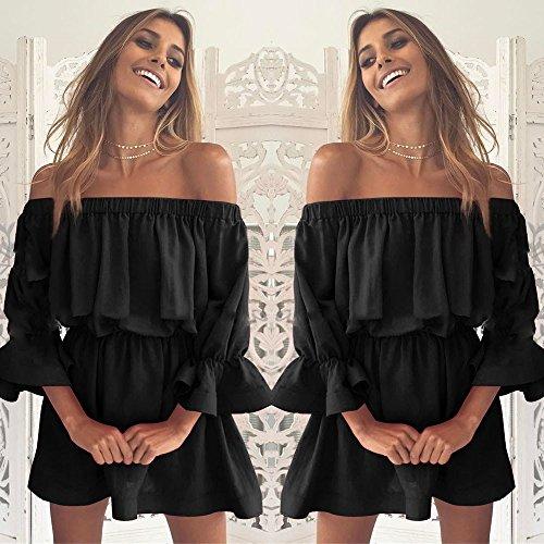 Womteam Kleider Damen Sommer Frauen-Aufflackern-Hülse Weg vom Schulter-Feiertags-Kleid-Damen-Sommer-Kleid(Schwarz,XL) (Für Kleinkinder Princess Up-schuhe Dress)