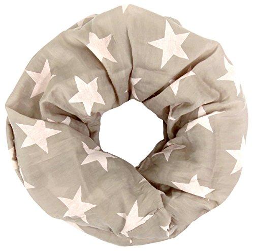 Lovely Lauri Basic Sterne Loop Baumwolle und Seide Made in Italy Beige (Schal Seide Farbige Baumwolle)