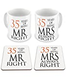 Pair of Mr Right & Mrs Always Right Anniversary (35th Coral) Novelty Gift Mugs w/ Matching Coasters