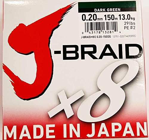 Daiwa J-Braid 8 Braid 0.20mm, 13,0kg/29,0lbs, 150m dunkelgrün