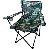 Silla plegable de Mojawo, silla de pescador, camping, director, color camuflaje con soporte para bebidas y funda