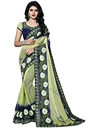Fab Valley Women's Chiffon Saree With Blouse Piece (Fb-1049_Green & Blue)