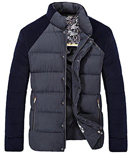 BININBOX® Herren Fashion Mantel Wollmantel Steppjacke Daunenmantel Daunenjacke Thicken Warmen Wintermantel Schwarz