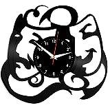 WCZZH Mascara De Teatro Reloj De Pared Disco De Vinilo Disco De Vinilo Mascara De Teatro