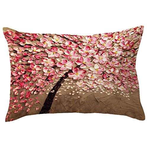 Indexp Rectangle Tree Pattern Printing Throw Cushion Cover Sofa Home Decoration Pillow case (Style F)