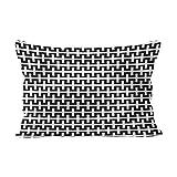 Skully, Hot Lendenwirbel-Motiv, modisch, schwarz-weiß, geometrische Streifen, versteckter Reißverschluss, Heimdekoration, rechteckig, Seide, Color 04, 16