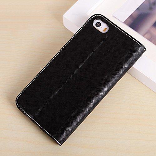 iPhone 5 5S SE Cas, JNTworld Antichoc Contraste Couleur Étui en Cuir, bleu noir
