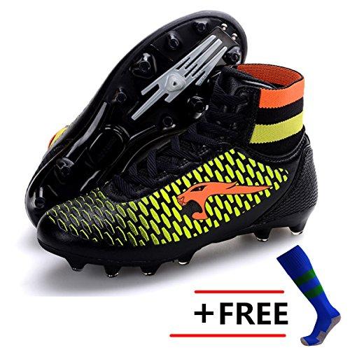 BOLOG Größe 33-45 Kinder Fußballschuhe AG Spike Microfaser Cleats Beruf Athletics High Top(fußballschuhe mit socken) (Jungen Cleats Football)