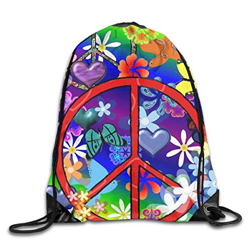 HRTSHRTE Peace Butterflies Mark Colorful Rainbows Patterned Themed Printed Drawstring Bundle Book School Shopping Travel Back Bags Draw String Gym Backpack Bulk Girl Boy Women Men