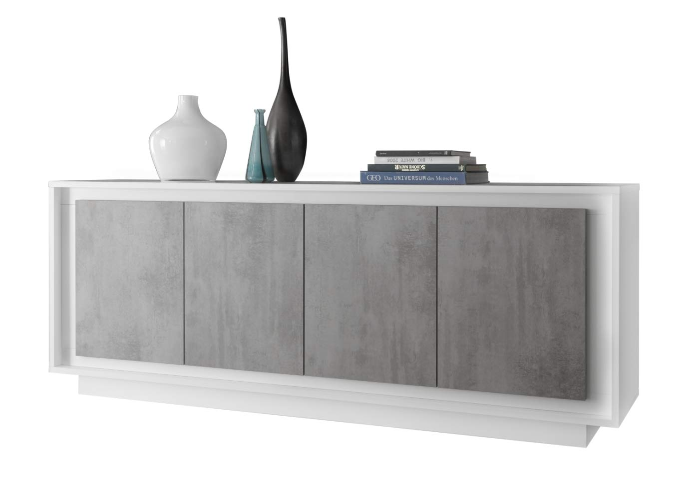 Credenza Moderna Bianco Opaco : Credenza moderna con vetrina madie alte moderne