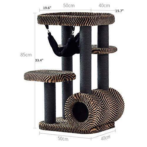 DWW Large Rectangle Leopard-Druck-Flanell-Kratzbaum Turm Mit Hängematte, 33,4 Zoll Cat Condo Mit Sisal-Covered Kratz, for Schlafzimmer, Wohnzimmer