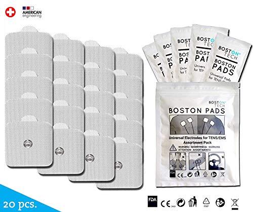 Boston Tech Electrodos Autoadhesivos Supersoft, 20 Electrodos para Beurer Vital Control. Conexión Snap (Botón) Tecnología Premium de 3 Capas